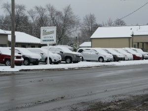 Snow covered lot